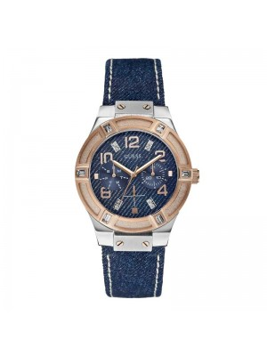 Guess Jet Setter Blue Denim Leather Ladies Watch W0289L1