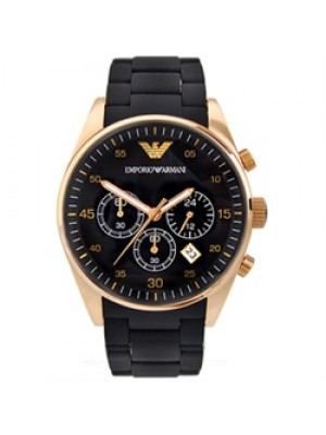 Emporio Armani Black Dial Chronograph Mens Sportivo Watch with Rosegold finish AR5905