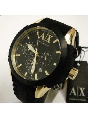 Armani Exchange Men's AX1222 Black Rubber Quartz Watch with Gold Dial
