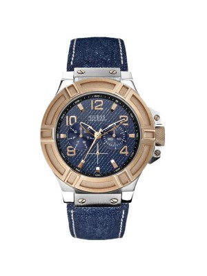 Guess Men's Sport Quartz Watch with Blue Denim Leather Strap W0040G6