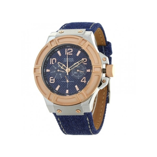 men s sport quartz watch blue denim leather strap w0040g6 guess men s sport quartz watch blue denim leather strap w0040g6