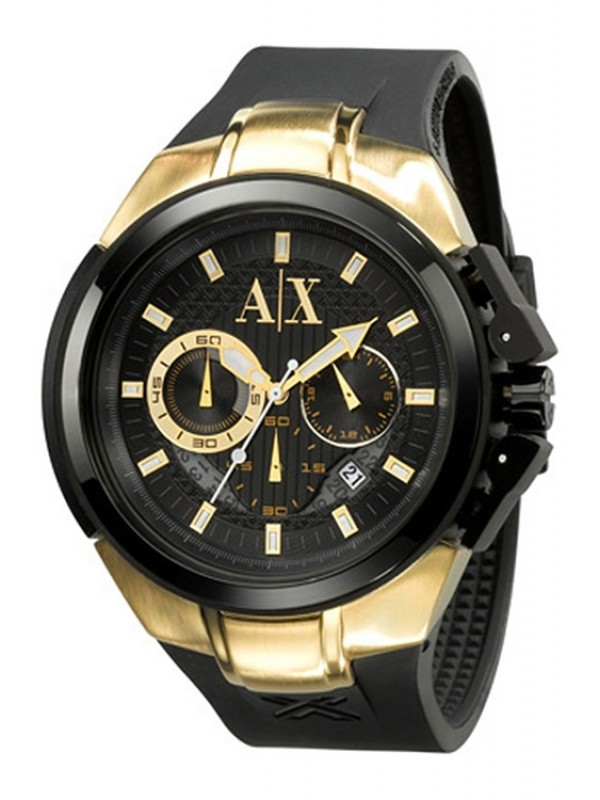 Armani Exchange Men's AX1089 Black Rubber Quartz Watch with Gold Dial