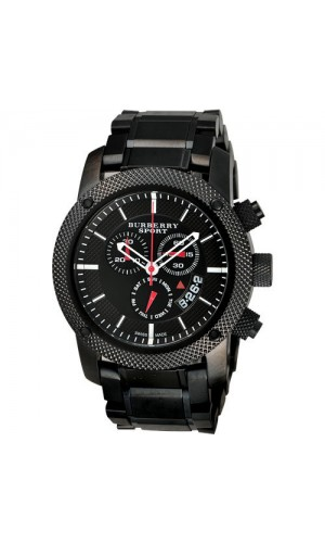 Burberry Sport Black Steel Mens Chronograph Watch