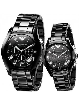 Armani Ceramic Black Chronograph His & Hers Watches AR1400 & AR1401