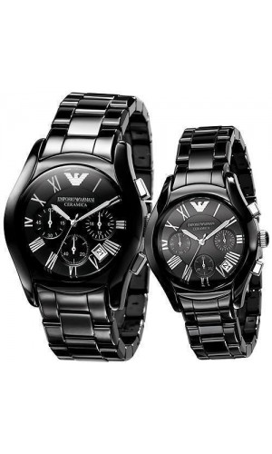 Armani Ceramic Black Chronograph His & Hers Watches AR1400 & AR1401