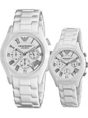 Armani Ceramica Chronograph His & Hers Watch AR1403 & AR1404