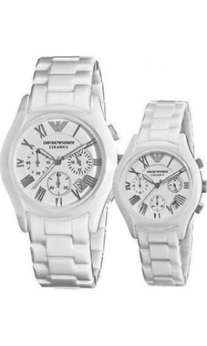 Armani Ceramica Chronograph His & Hers Watch AR1403 & AR1404