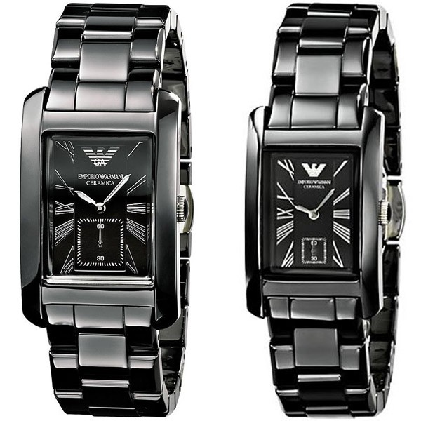 Armani Ceramic Quartz Black Dial His & Hers Watch - AR1406 & AR1407