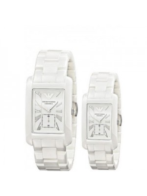 Armani White Ceramic White Dial His & Hers Watch AR1408 & AR1409