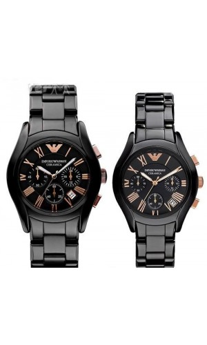 Armani Ceramic Black Chronograph His & Hers Watch AR1410 & AR1411