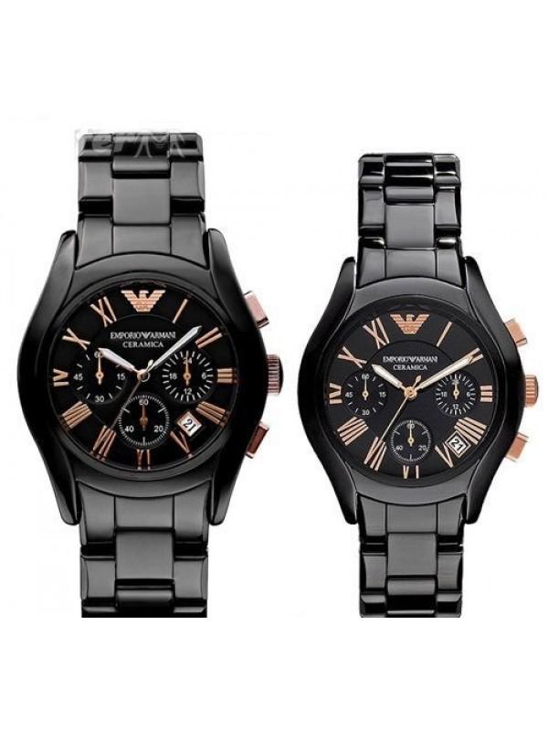 Armani Ceramic Black Chronograph His & Hers Watch AR1410 & AR1411