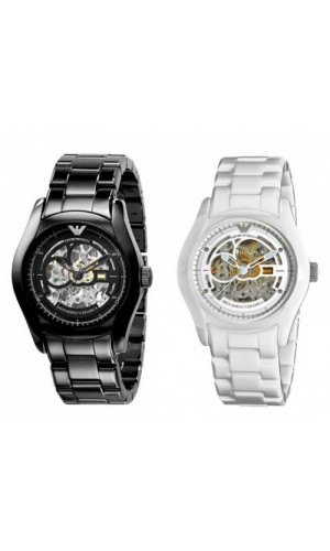 Armani Black and White Ceramic Automatic Meccanico His & Hers Watch AR1414 & 1415
