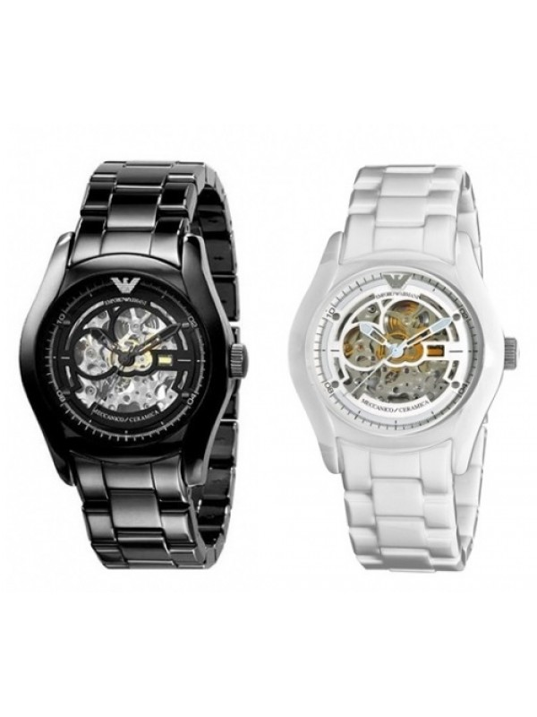 Armani Black and White Ceramic Automatic Meccanico His & Hers Watch AR1414 & 1415