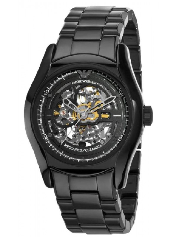 Armani Mens Black Ceramic Automatic Meccanico Watch with Black Dial and Rose Gold AR1414