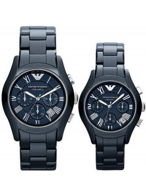 Armani Blue Ceramic Chronograph His & Hers Watch AR1469 & AR1470