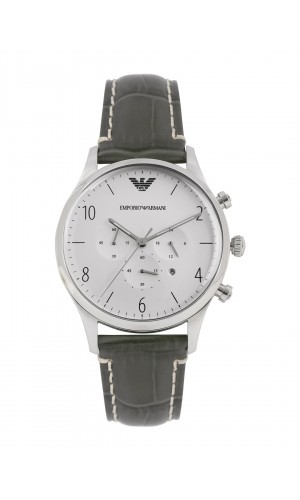 Armani Classic Unique Grey Leather Chronograph Watch for Men AR1861