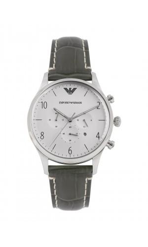 Armani Classic Unique Grey Leather Chronograph Watch for Men AR1861