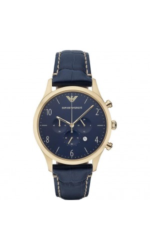 Armani Chronograph Blue Dial Blue Leather Men's Watch AR1862