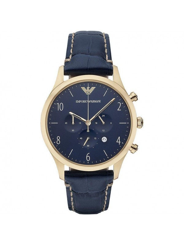 Armani Chronograph Blue Dial Blue Leather Men's Watch AR1862