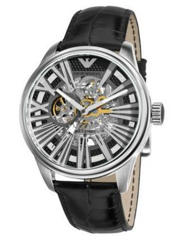 Armani Mens Meccanico Automatic Black Strap Watch AR4629