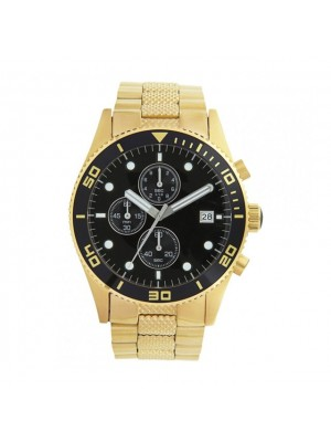 Armani Gold Tone Stainless Steel with Black Dial Men's Watch AR5857