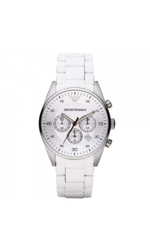 Armani Sport White Silicone Silver Chronograph Dial Men's Watch AR5859