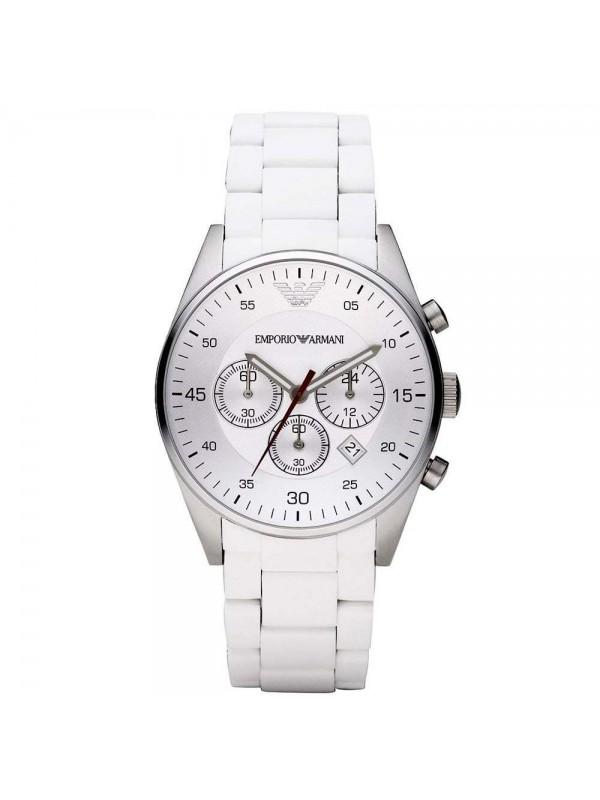 Armani Sport White Silicone Silver Chronograph Dial Men's Watch AR5859