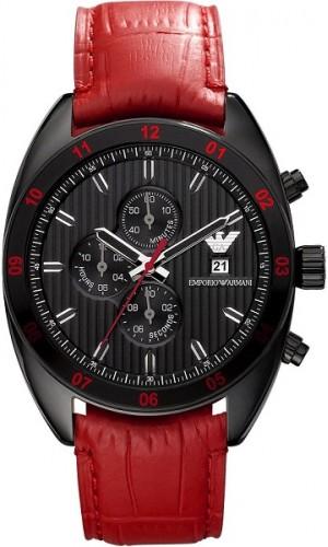 Armani Sportivo Red Leather Men's Chronograph Watch AR5918