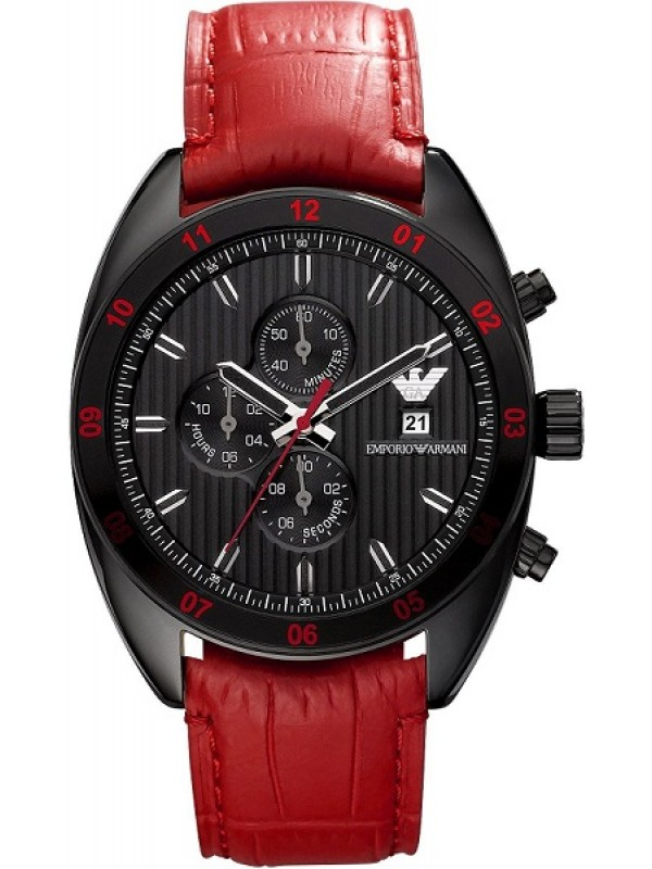 Armani Sportivo Red Leather Men's Chronograph Watch AR5918