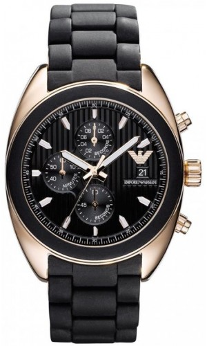 Armani Black Silicon Chronograph Men's Watch AR5954