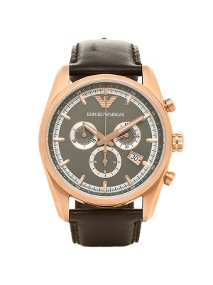 Armani Sportivo Chronograph Gunmetal Dial Brown Leather Strap Men's Watch AR6005