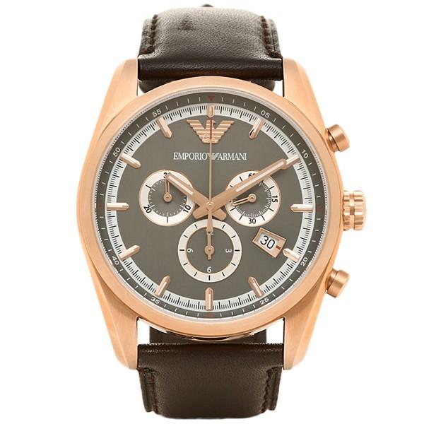 Armani Sportivo Chronograph Gunmetal Dial Brown Leather Strap Men's Watch AR6005