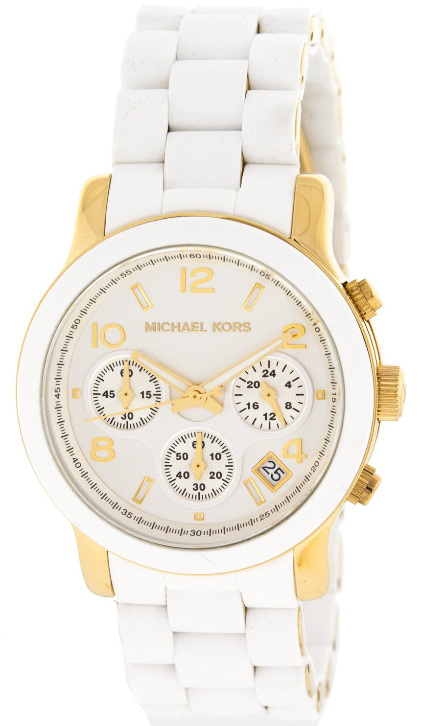 aa0d787027b Michael Kors MK5145 Ladies Two Tone Stainless Steel Quartz Runway  Chronograph White and Yellow Goldtone Dial Watch