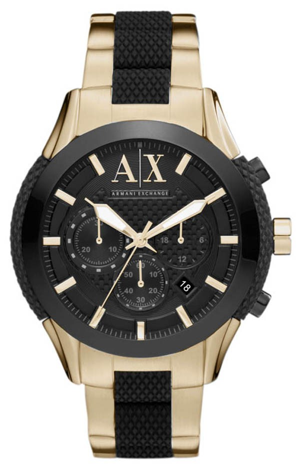 Armani Exchange AX1222 Mens Black Dial Gold Tone Watch with Zulu Chronograph 000663497f