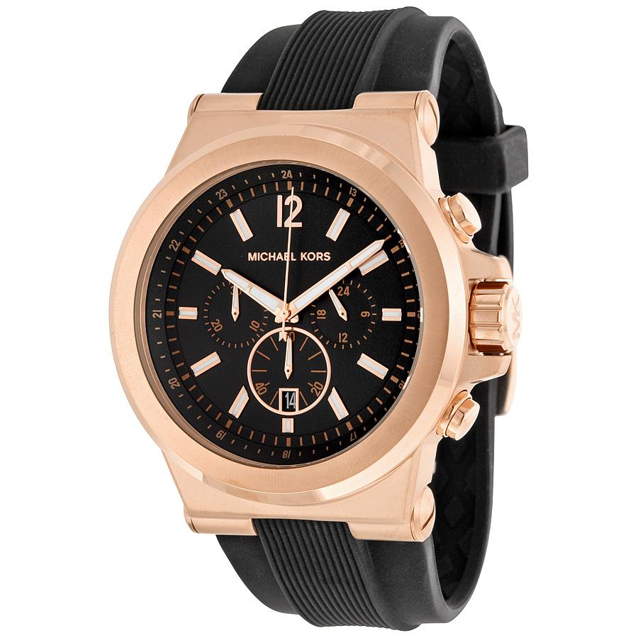 michael kors michael kors dylan men s black silicone chronograph mk8325 watch